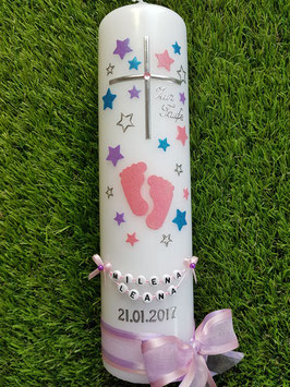 Taufkerze TK096 Große Füsschen Rosa-Flieder-Türkis Holoflitter mit Silber