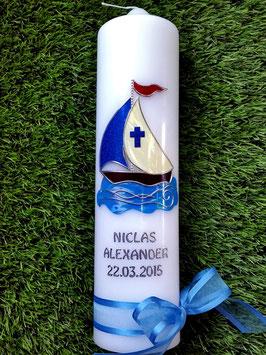 """Taufkerze TK311 """"Boot"""" Hellblau-Dunkelblau Holoflitter"""