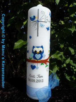 Taufkerze EULE das Original mit Silberschrift TK180 in Dunkelblau-Hellblau Flitter