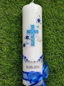 Taufkerze Kreuz Blumenwind TK230 Dunkelblau-Hellblau