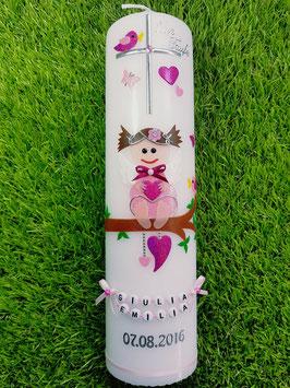 Taufkerze SK155 SCHUTZENGEL Rosa-Pink Holoflitter / Schmales Satinband / Buchstabenkette