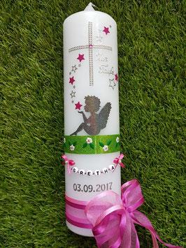 Taufkerze SK154-1 SCHUTZENGEL sitzend mit Sterne / Anthrazit-Pink-Fuchsia Holoflitter