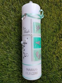 Taufkerze TK108 Pastellgrün-Mintgrün Holoflitter mit Silberschrift