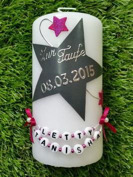 Patenkerze zur Kerze für Sternenkinder KSK300 Silber-Grau-Pink Holoflitter