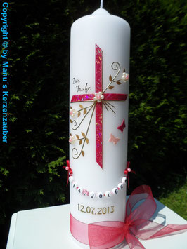 Taufkerze TK132 Schmetterlinge in Bordeaux-Rosa Glitzer