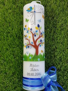 Taufkerze TK400 Lebensbaum mit Silberschrift / Bänder Dunkelblau-Hellblau