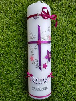 Taufkerze TK102-2 Pink-Brombeerlila-Rosa Holoflitter mit Sterne