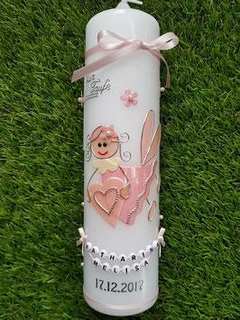 Taufkerze SK116 Schutzengel Mädchen Rosa-Zartrosa Holoflitter mit Blüten