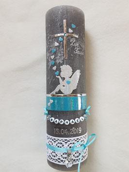 Vintage Taufkerze Silhouetten Schutzengel SK154-1-V / Kerze in Anthrazit / Silber-Pastellblau Holoflitter
