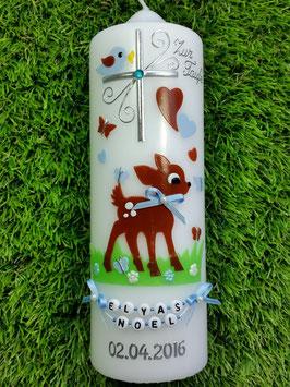 Paten oder Tischkerze Bambi TK188 Braun-Hellblau Uni