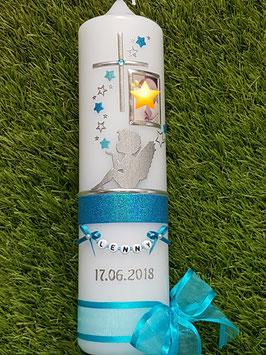 Taufkerze SK154-1 SCHUTZENGEL sitzend Türkis-Pastellblau Holoflitter & Silber mit Foto