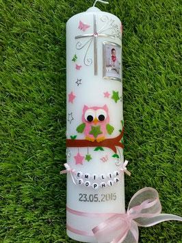 Taufkerze EULE das Original mit Buchstabenkette TK181 mit Foto & Sternen in Rosa-Apfelgrün Flitter