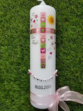 Mosaik Tauf- Kommunionkerze KK098 mit Sonne / Rosa-Altrosa-Pink-Apfelgrün-Silber