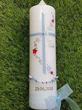 """Taufkerze Kreuz mit Sterne TK190 Hellblau Holoflitter & Rot Uni / Seite rechts """"Zur Taufe"""""""