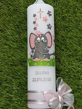 Taufkerze Elefant TK210-8 in Anthrazit-Rosa Holoflitter / Sterne / Silberschrift