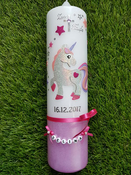 Taufkerze Einhorn TK265-U Silber-Rosa-Pink-Flieder Holoflitter