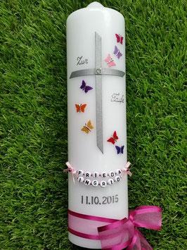 Taufkerze Regenbogen Schmetterlinge TK190 Silber- Pink
