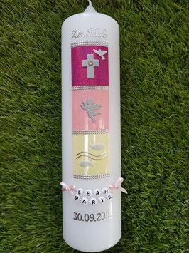 Taufkerze TK098-1 Symbole Pink-Rosa Holoflitter & Creme Marmoriert / Ohne Band!