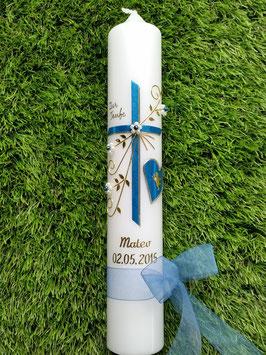 Taufkerze TK134 Herz in Mittelblau Flitter -Gold Schreibschrift