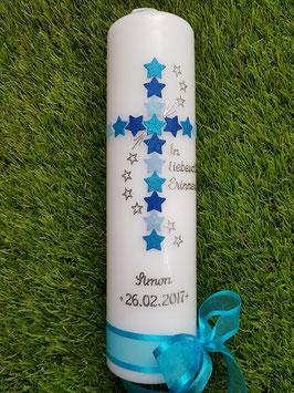 Trauerkerze Erinnerungskerze Sterne TRK190 Hellblau-Türkis-Dunkelblau Holoflitter