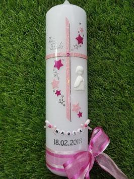 Taufkerze Kreuz mit Sterne TK190 Rosa Glitzer-Pink Holoflitter / 3D Engel / Doppelschleife