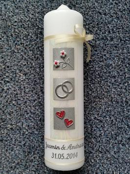 Sehr edle Hochzeitskerze HK209 Rot-Silber mit Perlblumen