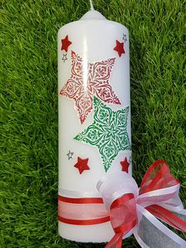 Weihnachtskerze WK102 Sterne Weiß-Grasgrün-Rot Holoflitter