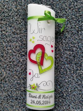 Hochzeitskerze Apfelgrün Glitzer & Pink Uni HK205 Wir sagen Ja!