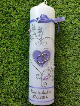 Hochzeitskerze Flieder Uni HK208 Klassisch
