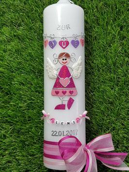 Taufkerze Schutzengel kerze SK118-1 Pink-Rosa-Flieder Hololfitter