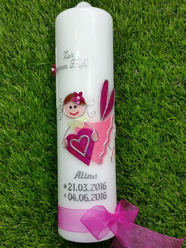Taufkerze SK116 Schutzengel Pink-Rosa Holoflitter / Organzaband Pink / Silberschrift