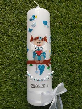 Taufkerze SK155 SCHUTZENGEL mit Zöpfen / Türkis-Hellblau Holoflitter / Schleifen Weiß