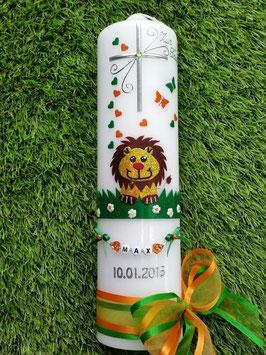 Taufkerze Löwe TK186 Orange-Grasgrün Holoflitter mit Buchstabenkette©