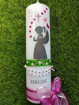 Taufkerze SK154-3 SCHUTZENGEL Mädchen stehend  Pink-Rosa Holoflitter / Flügel Anthrazit