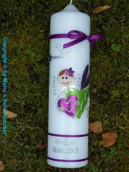 Taufkerze SK116 Schutzengel Mädchen Brombeerlila-Apfelgrün Flitter