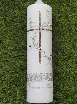Trauerkerze Kreuz mit Blumenranke TRK512
