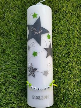 Taufkerze od. Kerze für Sternenkinder KSK300 Silber-Grau-Apfelgrün Holoflitter