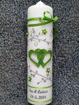 Hochzeitskerze Apfelgrün Holoflitter HK204 Klassisch