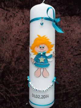 Schutzengelkerze Mädchen SK104 Türkis Holoflitter / Buchstabenkette