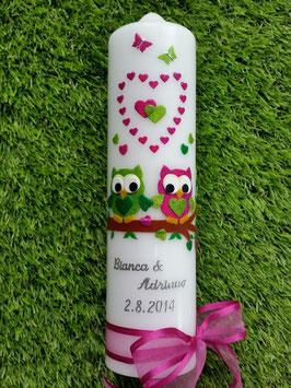Hochzeitskerze Verliebte Eulen HK216-2 Apfelgrün-Pink-Grün Flitter