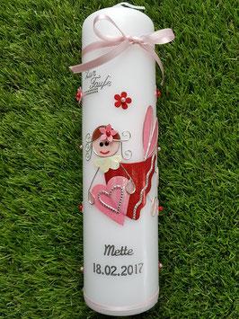 Taufkerze SK116 Schutzengel Mädchen Rosa-Rot Flitter mit Blüten / Silberschrift