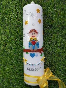 Taufkerze SK155 SCHUTZENGEL mit Sterne Gelb-Türkis /Band Gelb Satin Organzaband / Buchstabenkette