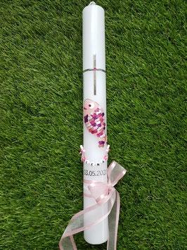 """Tauf oder Kommunionkerze Fisch Herzschuppen© TK196 Rosa-Pinktöne  >> DAS ORIGINAL©"""" /Band Rosa"""