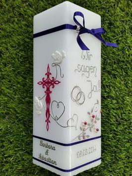 Hochzeitskerze Wir sagen Ja! HKS208 Lila-Pink Flitter