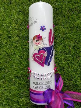 Taufkerze SK116 Schutzengel Pink-Dunkellila Holoflitter / Doppelschleife mit Blüten