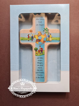 Kinder Holzkreuz Wir bitten Gott um Segen / Hellblau