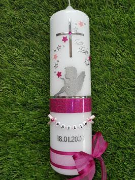 Taufkerze SK154-1 SCHUTZENGEL sitzend Pink-Rosa Holoflitter & Silber / Schleife Pink