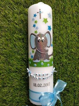 Taufkerze Elefant TK210-8 Anthrazit-Türkis-Hellblau Holoflitter / Schleife Hellblau