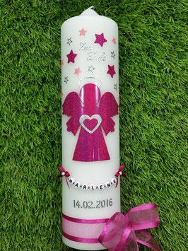 Taufkerze SK156-1 SCHUTZENGEL Pink Holoflitter