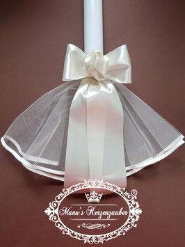 Kerzenröckchen Tüll mit Satinschleife in Creme KR100
